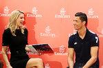 Emirates Global Ambassador Cristiano Ronaldo being interviewed by Rhiannon Jones of Real Madrid TV.j